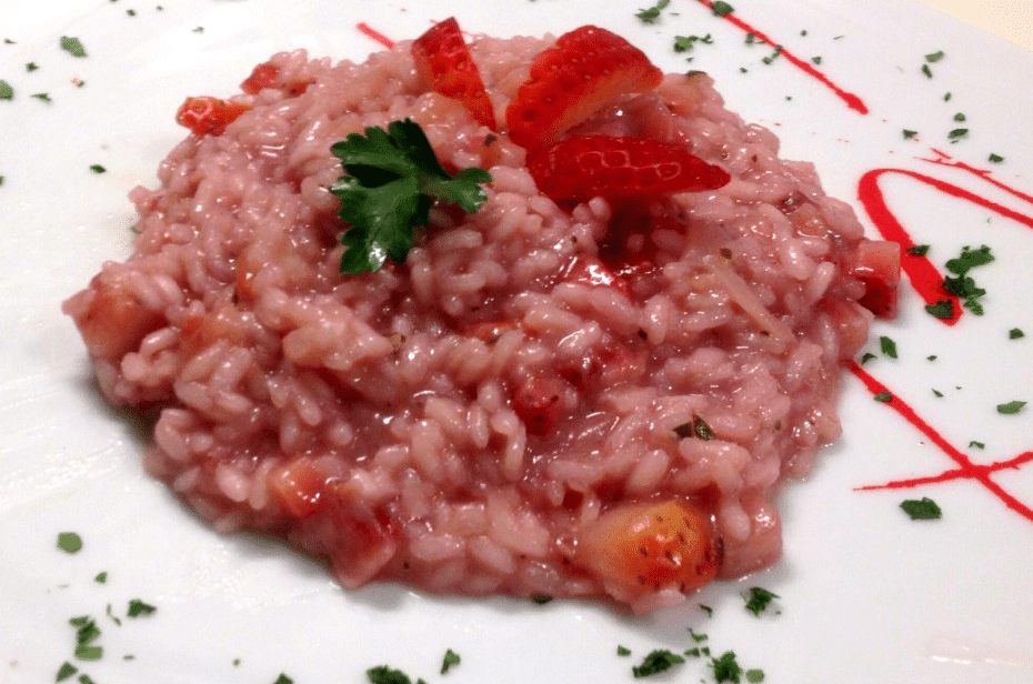 strawberry risotto and prosecco wine